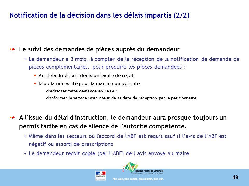 Notification de la décision dans les délais impartis (2/2)