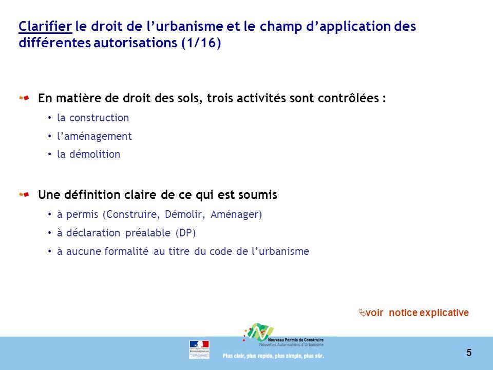 Clarifier le droit de l'urbanisme et le champ d'application des différentes autorisations (1/16)