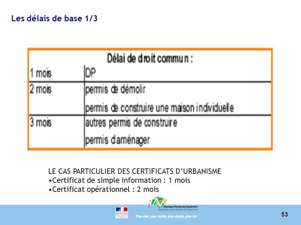 Les délais de base 1/3 LE CAS PARTICULIER DES CERTIFICATS D'URBANISME