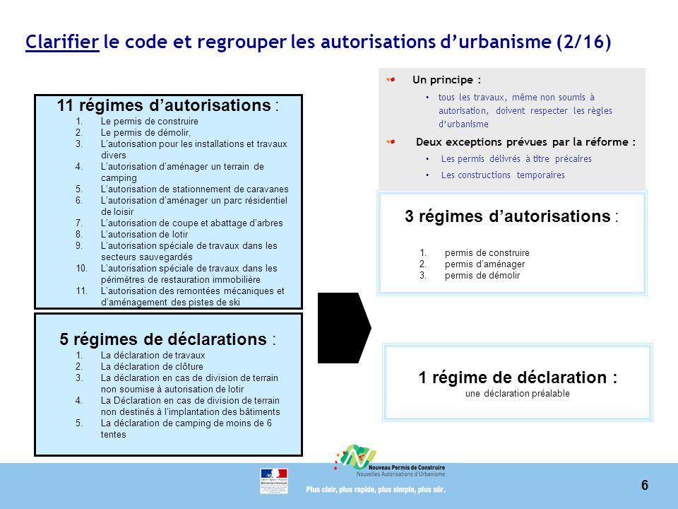 Clarifier le code et regrouper les autorisations d'urbanisme (2/16)