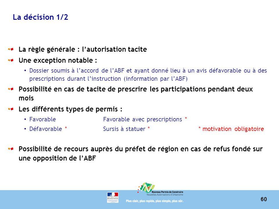 La décision 1/2 La règle générale : l'autorisation tacite