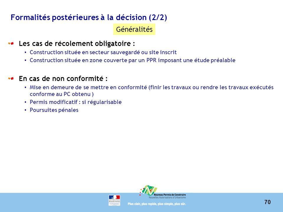 Formalités postérieures à la décision (2/2)