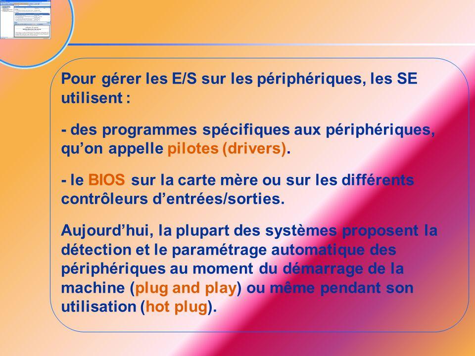 Pour gérer les E/S sur les périphériques, les SE utilisent :