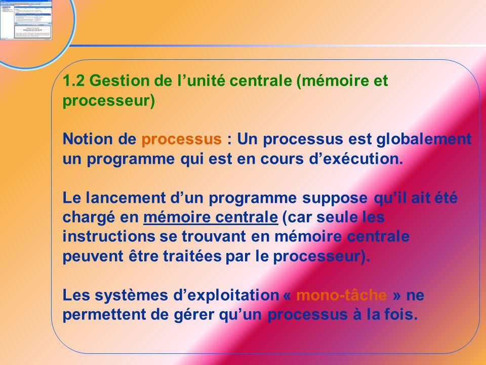 1.2 Gestion de l'unité centrale (mémoire et processeur)