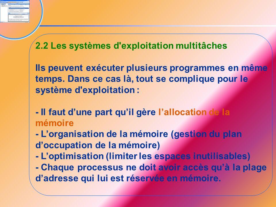 2.2 Les systèmes d exploitation multitâches