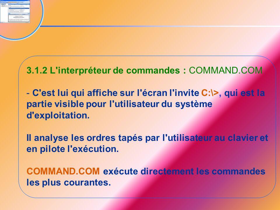 3.1.2 L interpréteur de commandes : COMMAND.COM