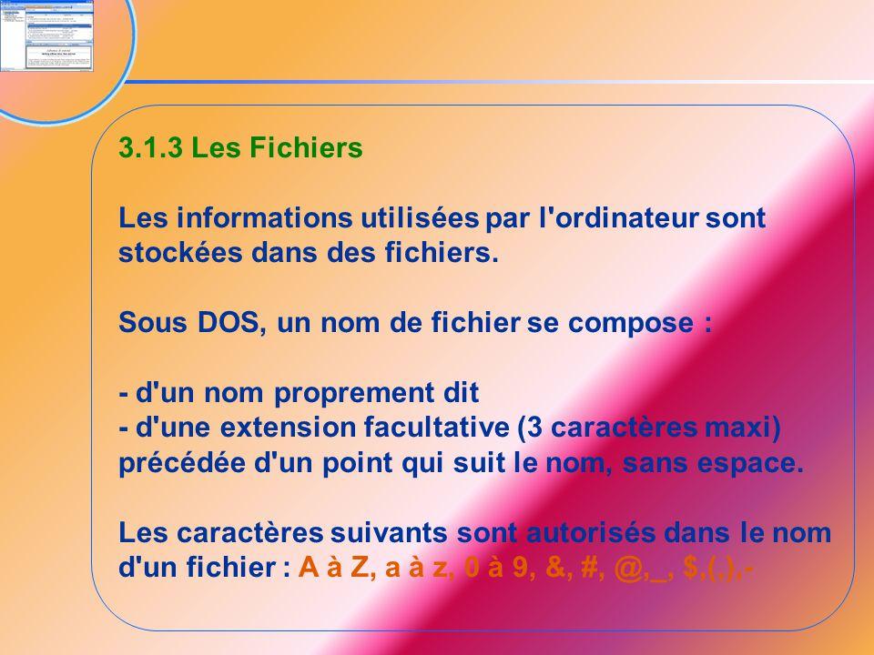 3.1.3 Les Fichiers Les informations utilisées par l ordinateur sont stockées dans des fichiers. Sous DOS, un nom de fichier se compose :