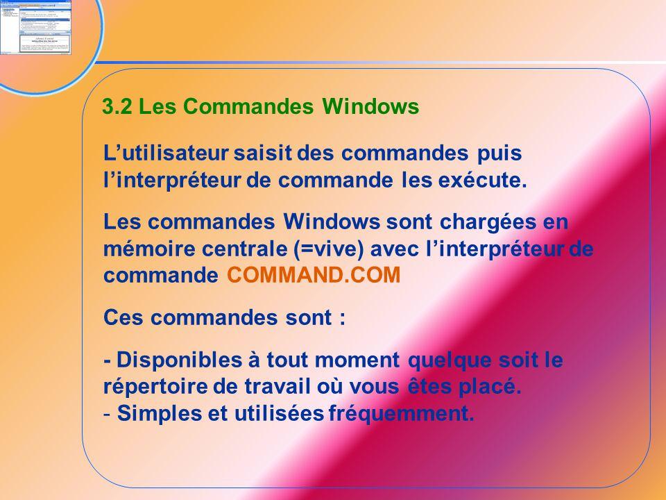 3.2 Les Commandes Windows L'utilisateur saisit des commandes puis l'interpréteur de commande les exécute.