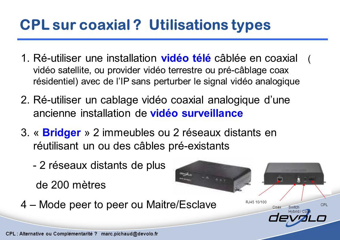 CPL sur coaxial Utilisations types