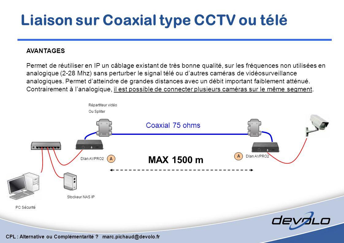 Liaison sur Coaxial type CCTV ou télé