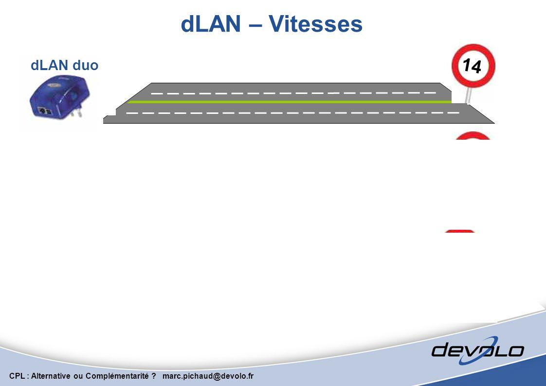 dLAN – Vitesses 14 dLAN duo 85 dLAN Highspeed 200 dLAN AVeasy
