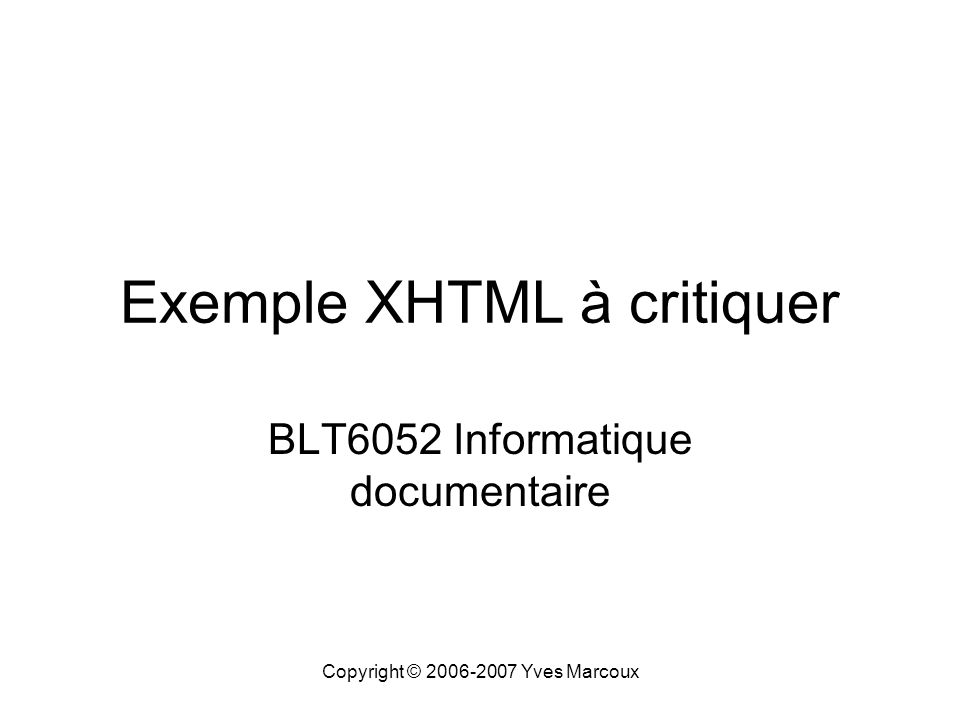 Exemple XHTML à critiquer
