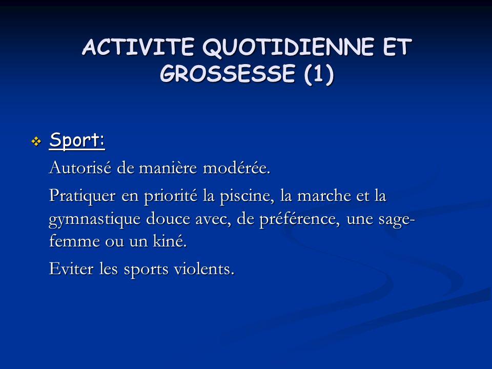 ACTIVITE QUOTIDIENNE ET GROSSESSE (1)