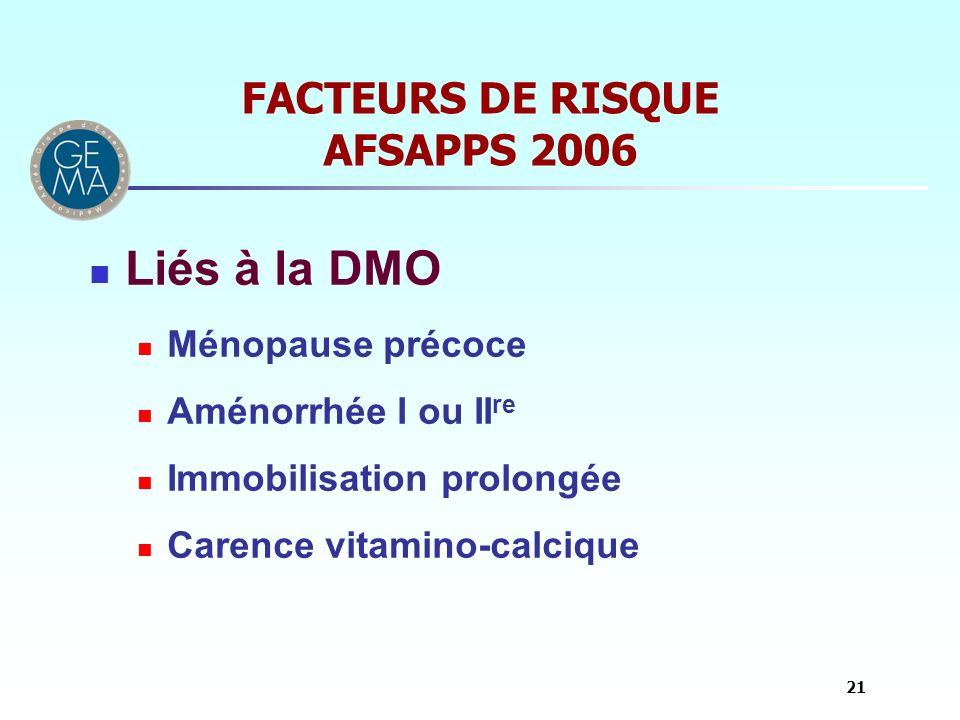 FACTEURS DE RISQUE AFSAPPS 2006