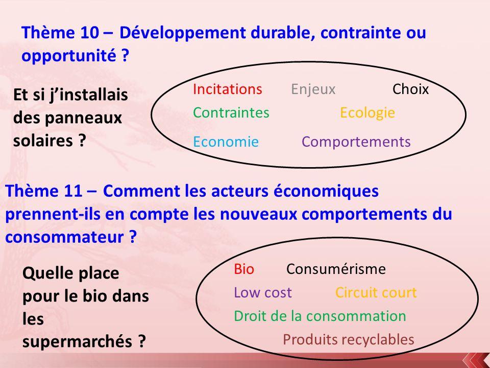 Thème 10 – Développement durable, contrainte ou opportunité