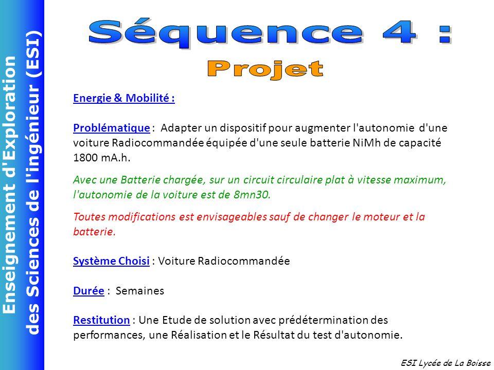 Séquence 4 : Projet Energie & Mobilité :