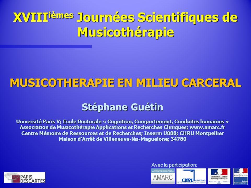 XVIIIièmes Journées Scientifiques de Musicothérapie