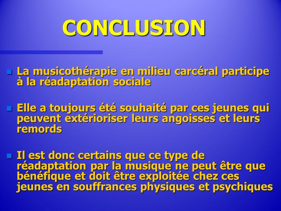 CONCLUSIONLa musicothérapie en milieu carcéral participe à la réadaptation sociale.