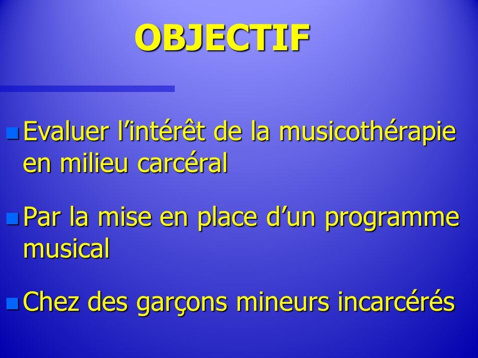 OBJECTIF Evaluer l'intérêt de la musicothérapie en milieu carcéral
