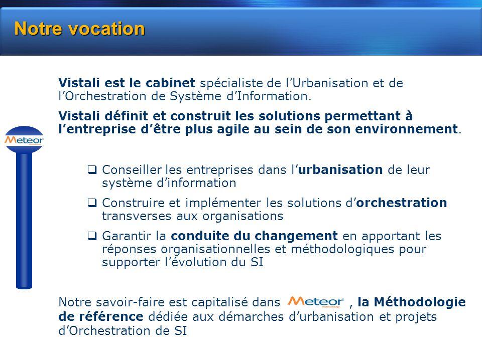 Notre vocation Vistali est le cabinet spécialiste de l'Urbanisation et de l'Orchestration de Système d'Information.
