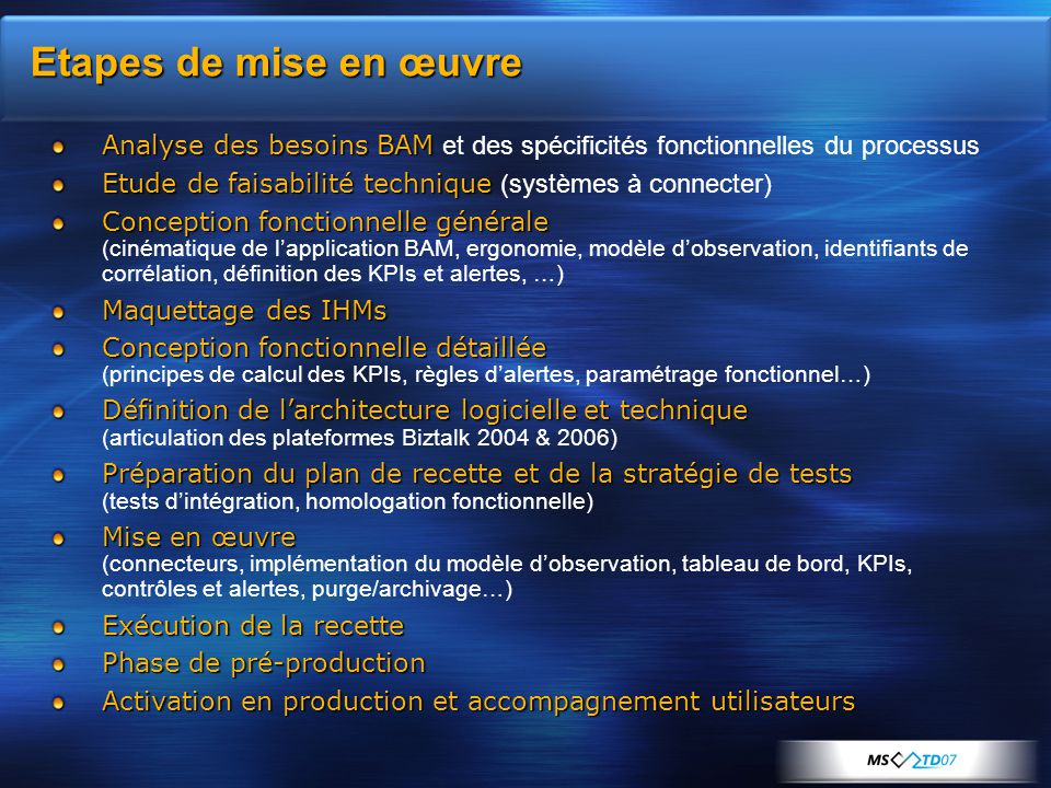 Etapes de mise en œuvre Analyse des besoins BAM et des spécificités fonctionnelles du processus.