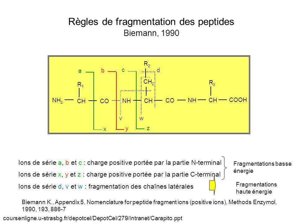 Règles de fragmentation des peptides Biemann, 1990
