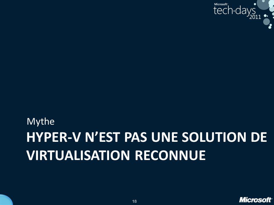 Hyper-V n'est pas une SOLUTIOn DE VIRTUALISATION reconnuE