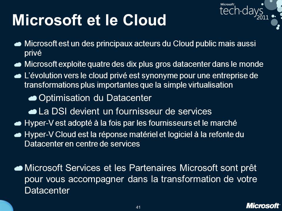 Microsoft et le Cloud Optimisation du Datacenter