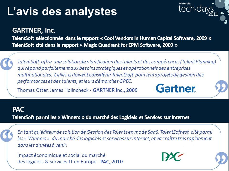 L'avis des analystes GARTNER, Inc. PAC