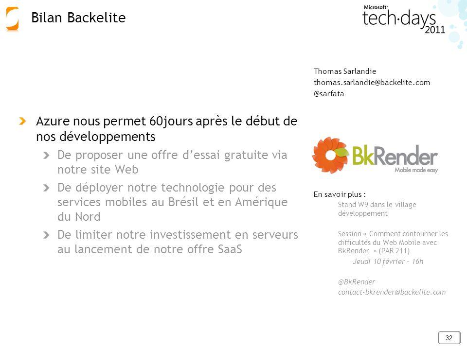 Bilan Backelite Azure nous permet 60jours après le début de nos développements. De proposer une offre d'essai gratuite via notre site Web.
