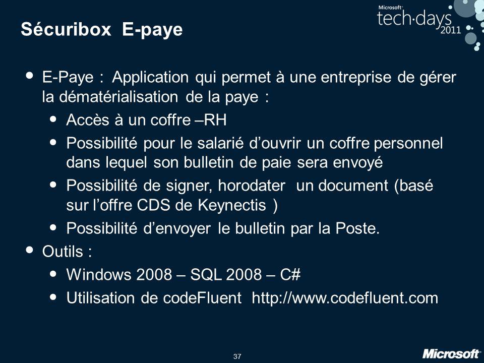 Sécuribox E-paye E-Paye : Application qui permet à une entreprise de gérer la dématérialisation de la paye :