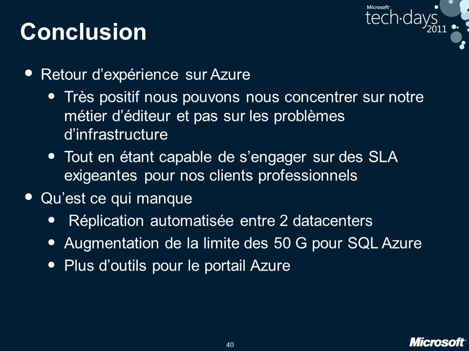 Conclusion Retour d'expérience sur Azure