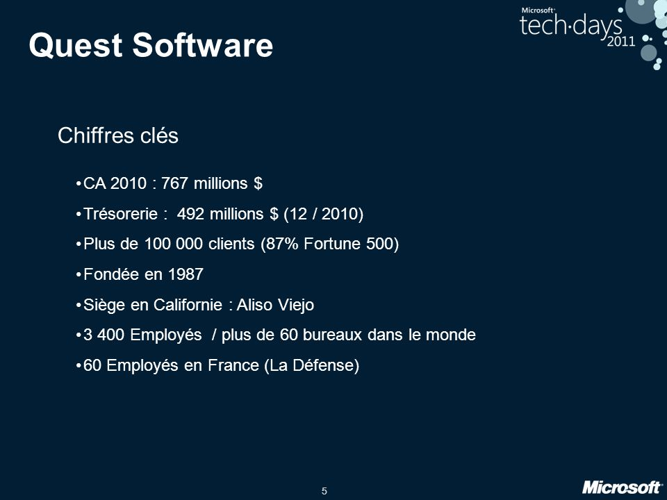 Quest Software Chiffres clés CA 2010 : 767 millions $
