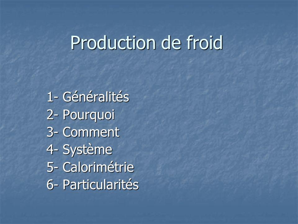 Production de froid 1- Généralités 2- Pourquoi 3- Comment 4- Système