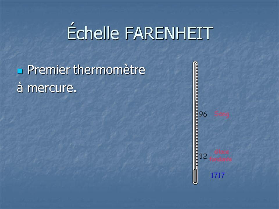 Échelle FARENHEIT Premier thermomètre à mercure.