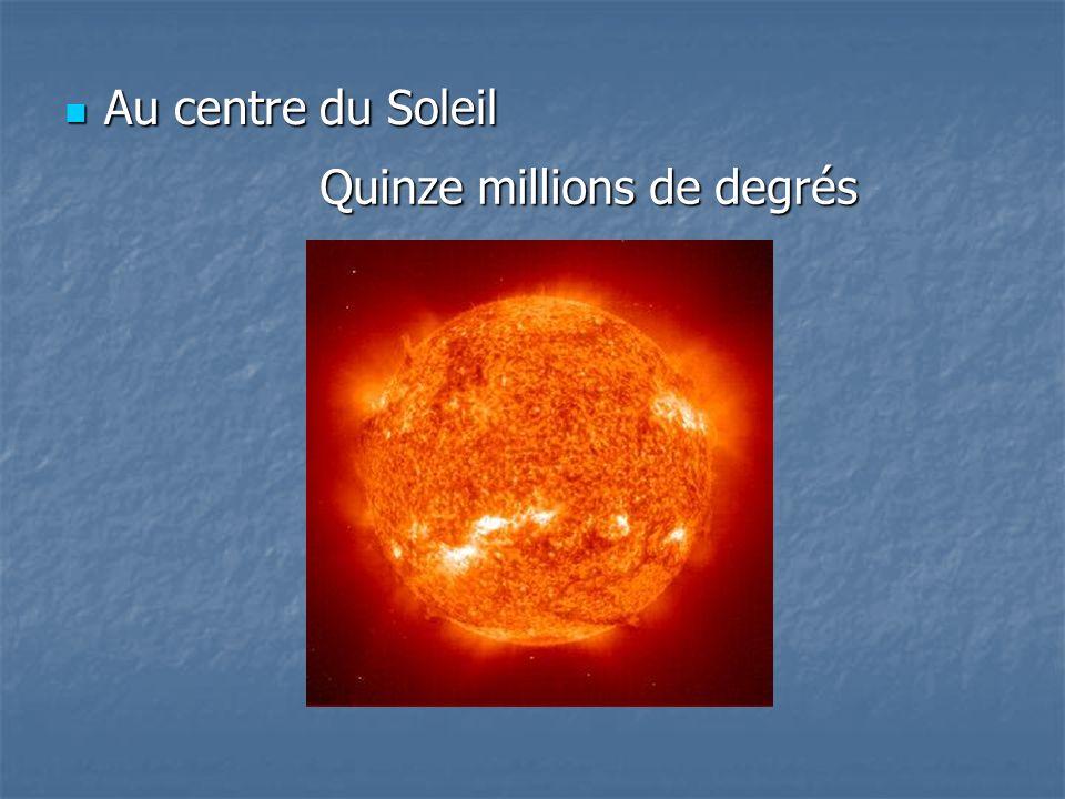 Au centre du Soleil Quinze millions de degrés