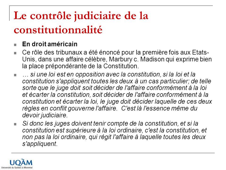 Le contrôle judiciaire de la constitutionnalité