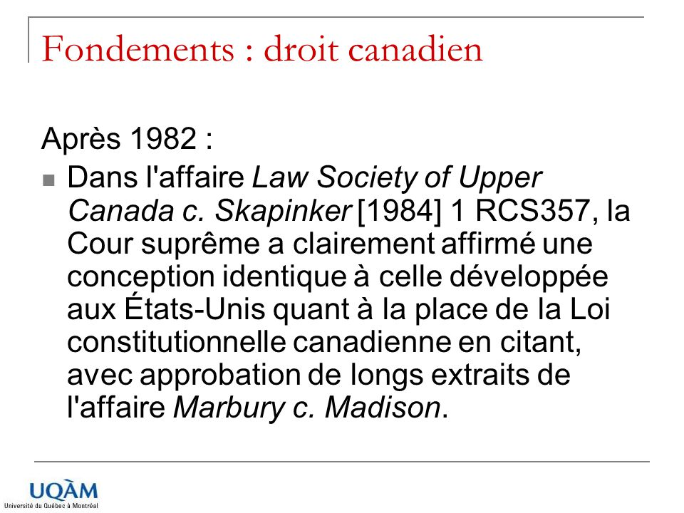 Fondements : droit canadien