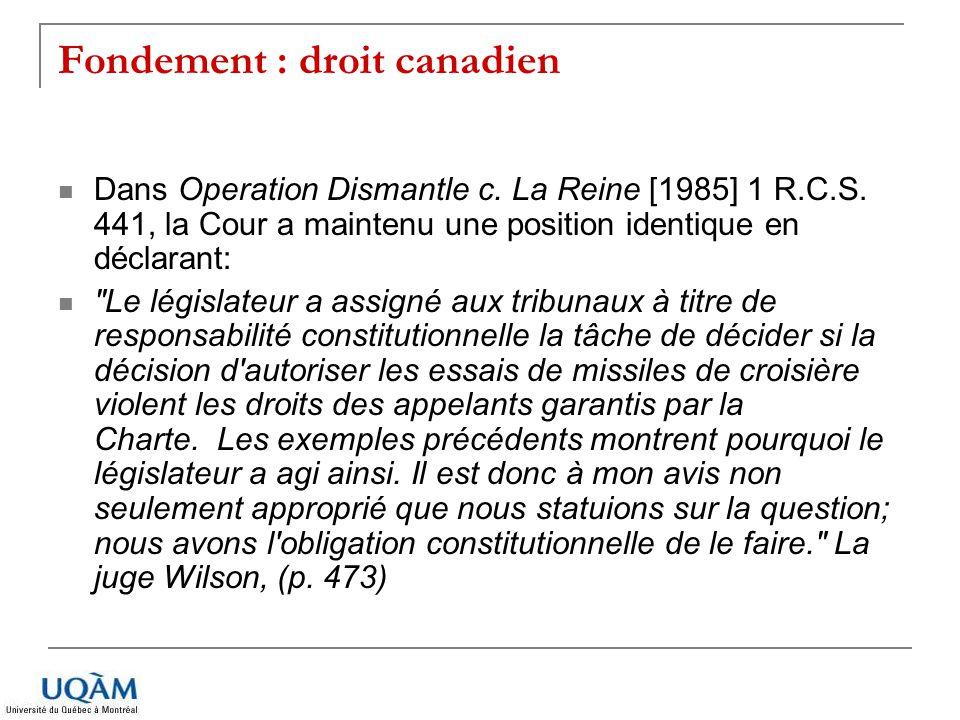 Fondement : droit canadien