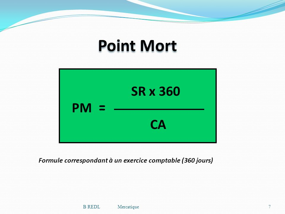 Point Mort PM = SR x 360. CA.