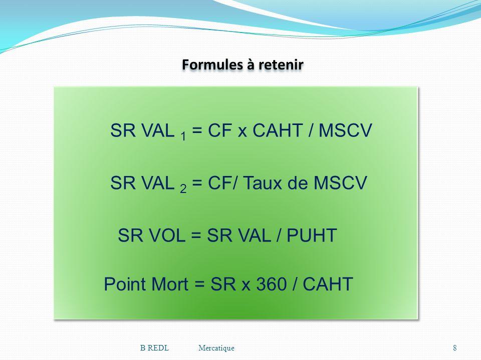 SR VAL 1 = CF x CAHT / MSCV SR VAL 2 = CF/ Taux de MSCV