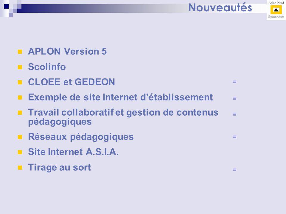 Nouveautés APLON Version 5 Scolinfo CLOEE et GEDEON