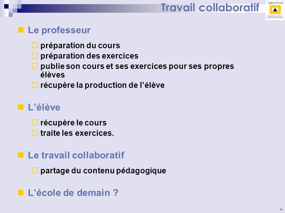 Travail collaboratif Le professeur L'élève Le travail collaboratif