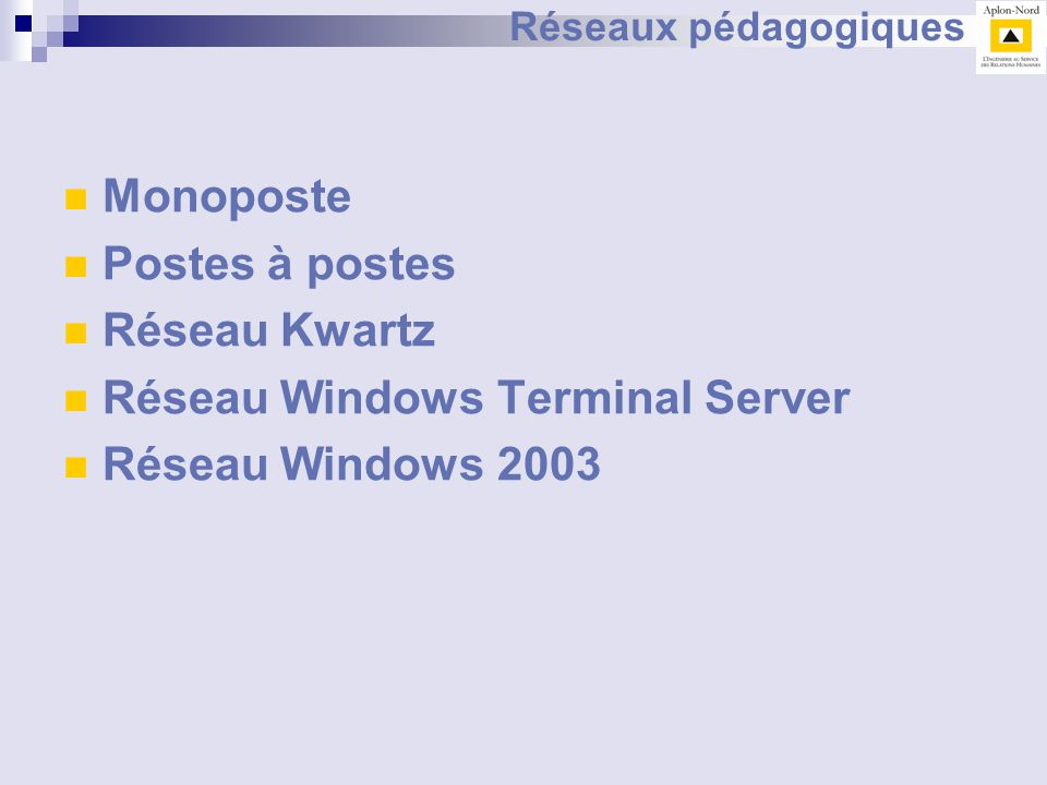 Réseau Windows Terminal Server Réseau Windows 2003