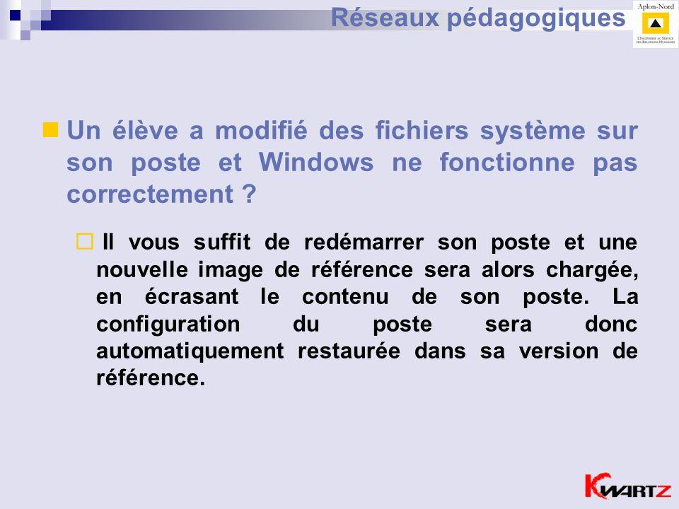 Réseaux pédagogiques Un élève a modifié des fichiers système sur son poste et Windows ne fonctionne pas correctement