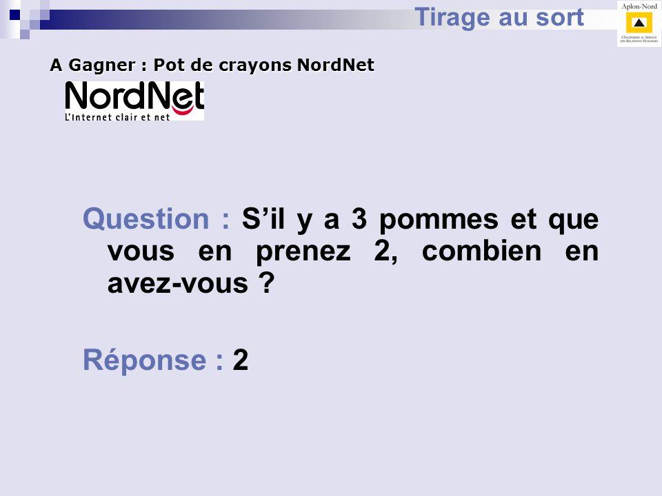 Tirage au sort A Gagner : Pot de crayons NordNet. Question : S'il y a 3 pommes et que vous en prenez 2, combien en avez-vous