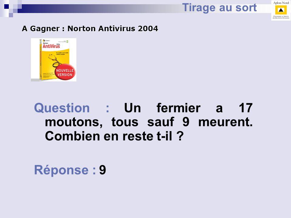 Tirage au sort A Gagner : Norton Antivirus 2004. Question : Un fermier a 17 moutons, tous sauf 9 meurent. Combien en reste t-il