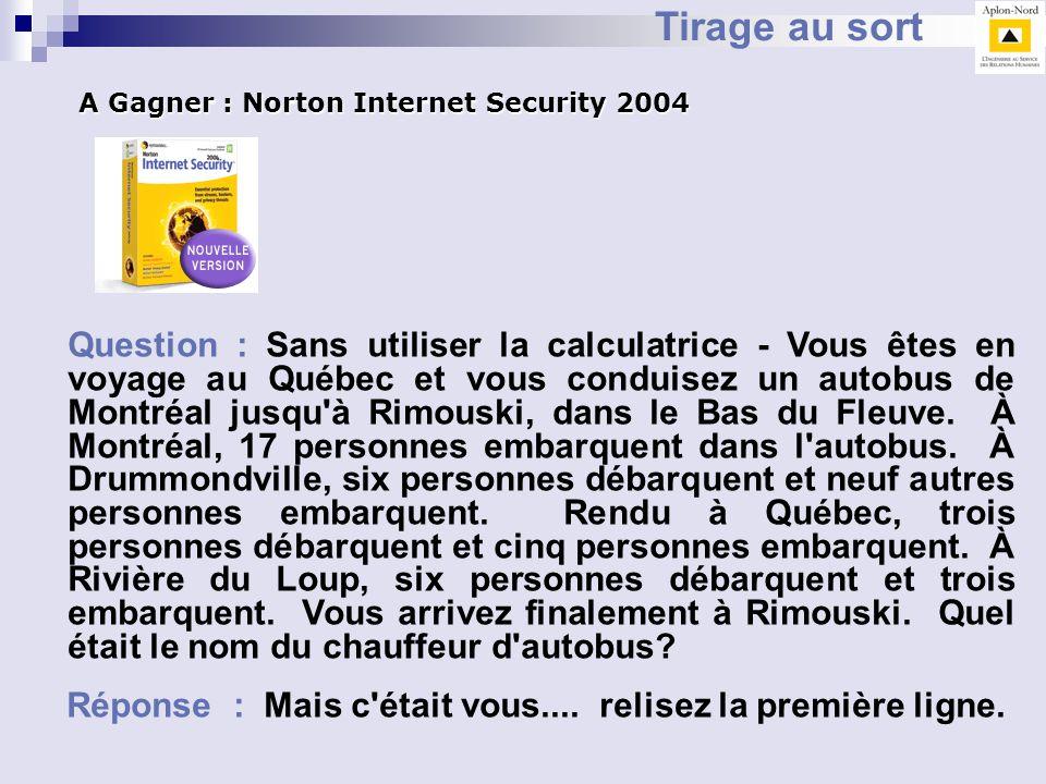Tirage au sort A Gagner : Norton Internet Security 2004.