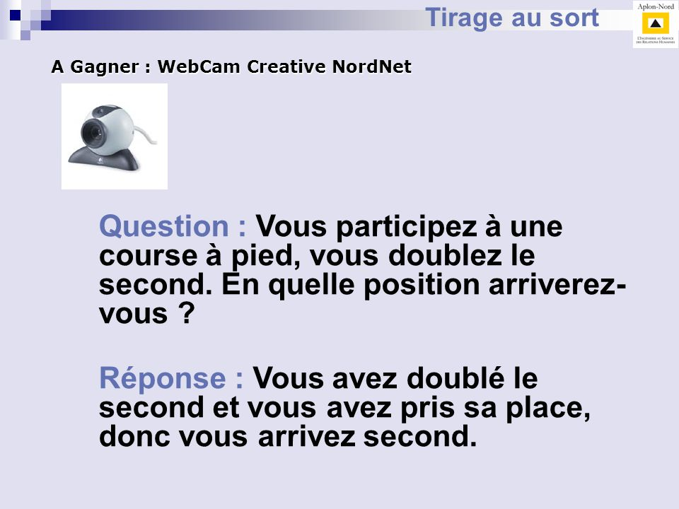 Tirage au sort A Gagner : WebCam Creative NordNet.