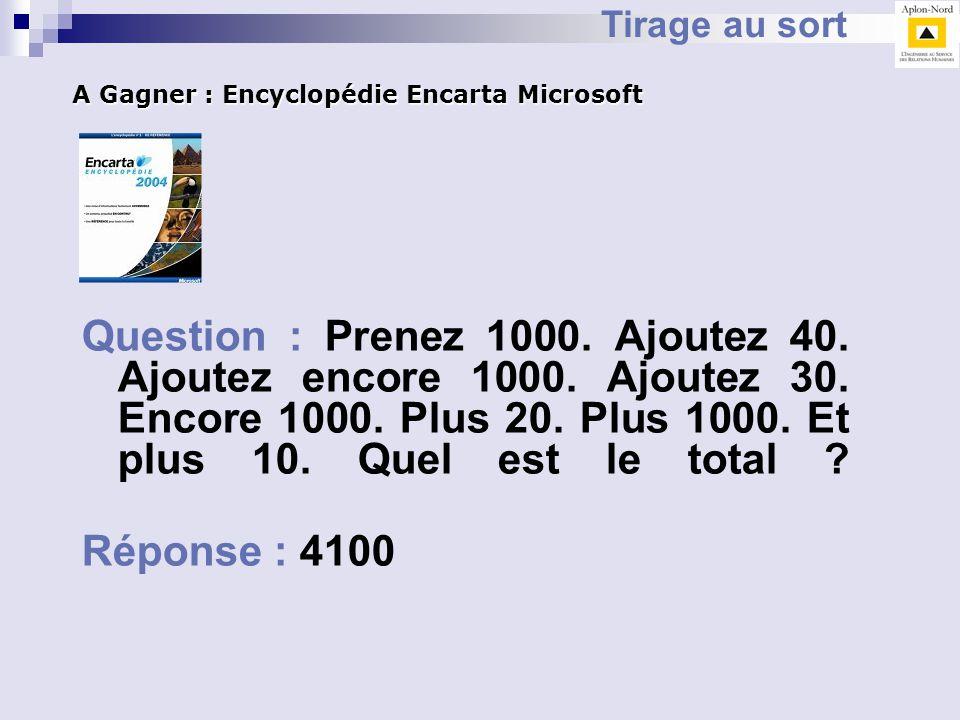 Tirage au sort A Gagner : Encyclopédie Encarta Microsoft.